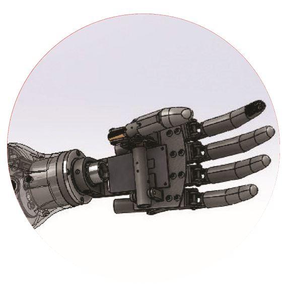Mechaniczna proteza ręki z odwzrowaniem procesów kinematycznych struktury dłoni