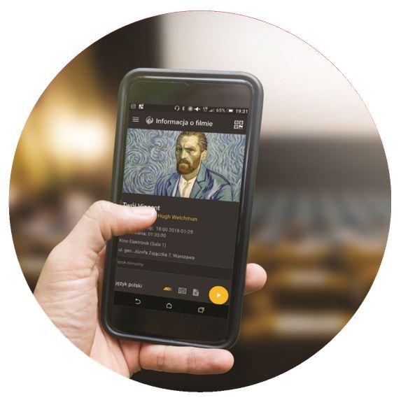Smartfon z aplikacją umożliwiająca korzystanie z Audiodeskrypcji